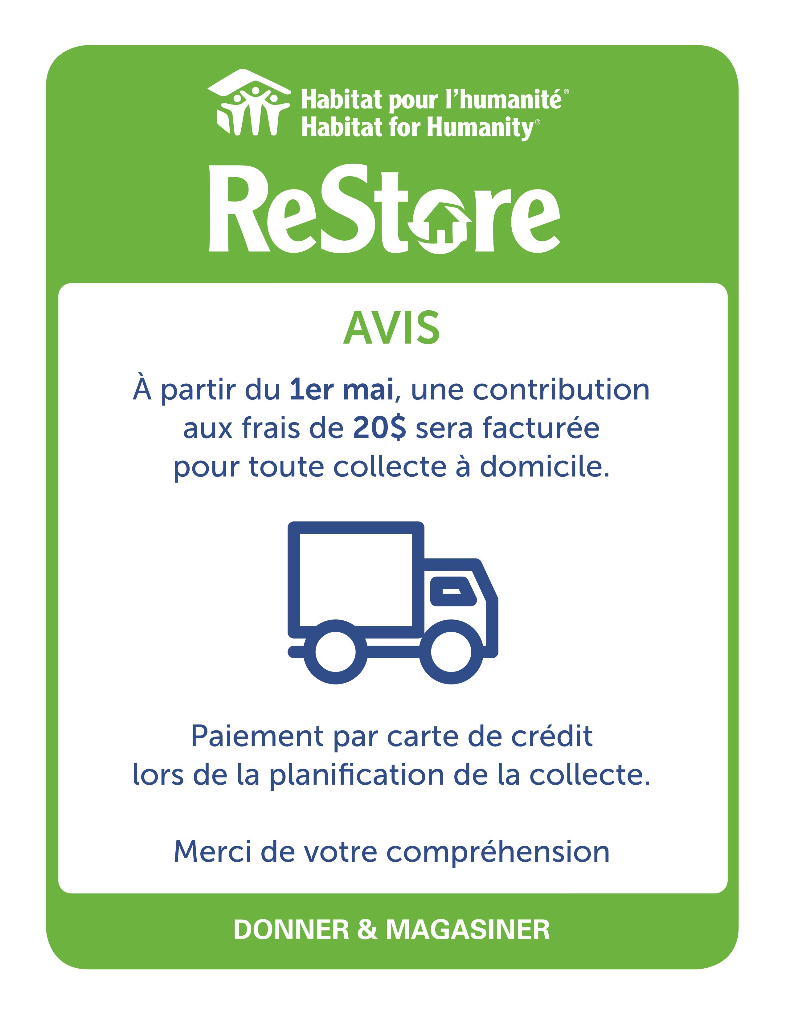 HHQ ReStore_Avertissement frais de collecte